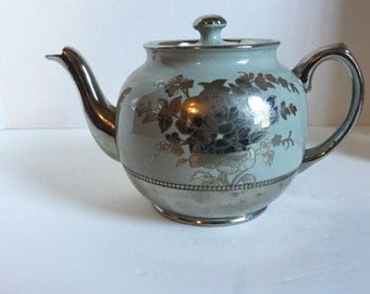 Sale 20% Off Vintage Sadler Teapot Gray and Silver Flower Pattern Made in England 1930's - 40's