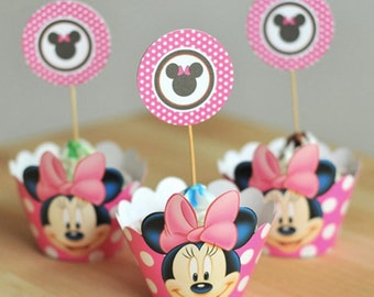Minnie Mouse Cupcake Wrappers and Toppers-Set of 12