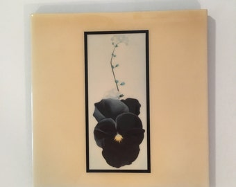 Vintage Georgia Okeeffe Porcelain Tile Pansy Made in New Mexico by Art Co Signed and Numbered Collectable Home Decor