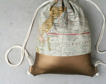 Gym bags gold & country map