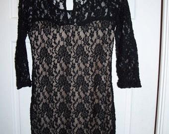 Vintage ISSI Black Lace Dress Size S Knee Length