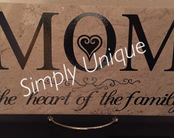 Mom, Mom is the heart of the family tile, family, Mother, Mother's Day