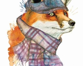 Fox water colour print, original fox water colour painting print, fox wall art, animal wildlife painting print, digital fox print