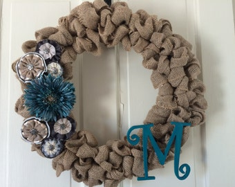 Burlap Blue Wreath