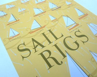 Sailing Rig Poster; Illustration and Print in Sun Glow Yellow