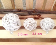 "2.5 mm (3/32"") Natural Cotton Braided Cord Rope for Macrame, Nautical Knots, Bulky Yarn, Macrame Cotton Cord"