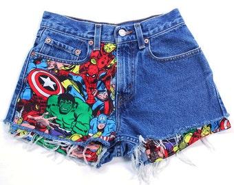 Levis Vintage Cut off Jean Shorts, Super Hero Patched Jean Shorts, Marvel Patched Jean Shorts,