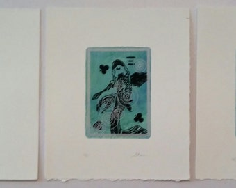 Silk Screen Cards with Koi