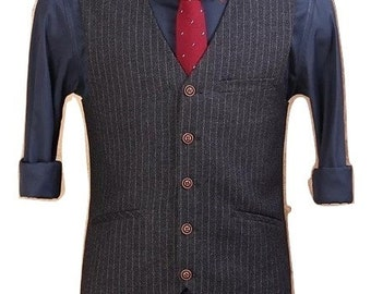 Custom Fitted Waistcoat in Black Pinstripe