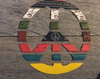 Repurposed Belt Wall Art-Peace Sign