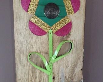 Repurposed Belt Wall Art- Flower