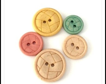 Vintage Pastel Buttons - Patterned Buttons - Sew Through Buttons