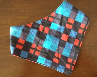 Red and blue checkered bandana bib