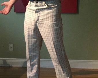 "1970""s Vintage Wrangler Disco Mod Slacks Plaid Slim Fitting 31""x 30"""