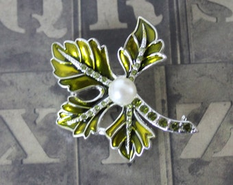 Vintage Green Enamel Leaf CZ and Pearl Silver Tone Brooch