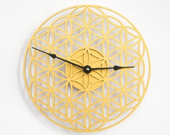 Golden Clock Flower of Life, Wall Clock, Wooden Clock Wood clock, Wooden Wall Clock, Modern Clock, Unique clock, Mandala