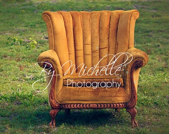 Newborn Antique Yellow Chair Digital Backdrop Background