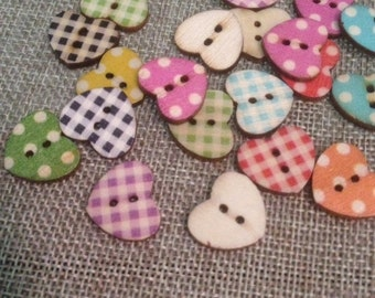 10 wooden heart shaped buttons