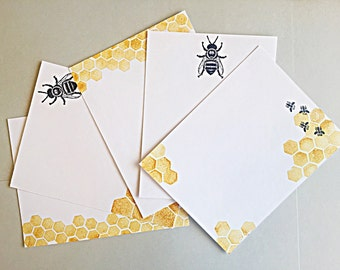 Bee Notecard Stationery Set of 5, Honeycomb Stationery, Handmade Stationery, Gift