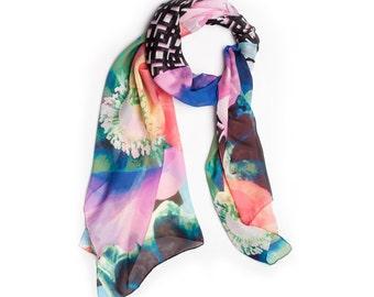 Vivid Floral Lattice Silk Scarf