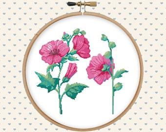 Pink flower cross stitch pattern - pillow embroidered - cross stitch PDF - instant download - digital download - floral cross stitch pattern