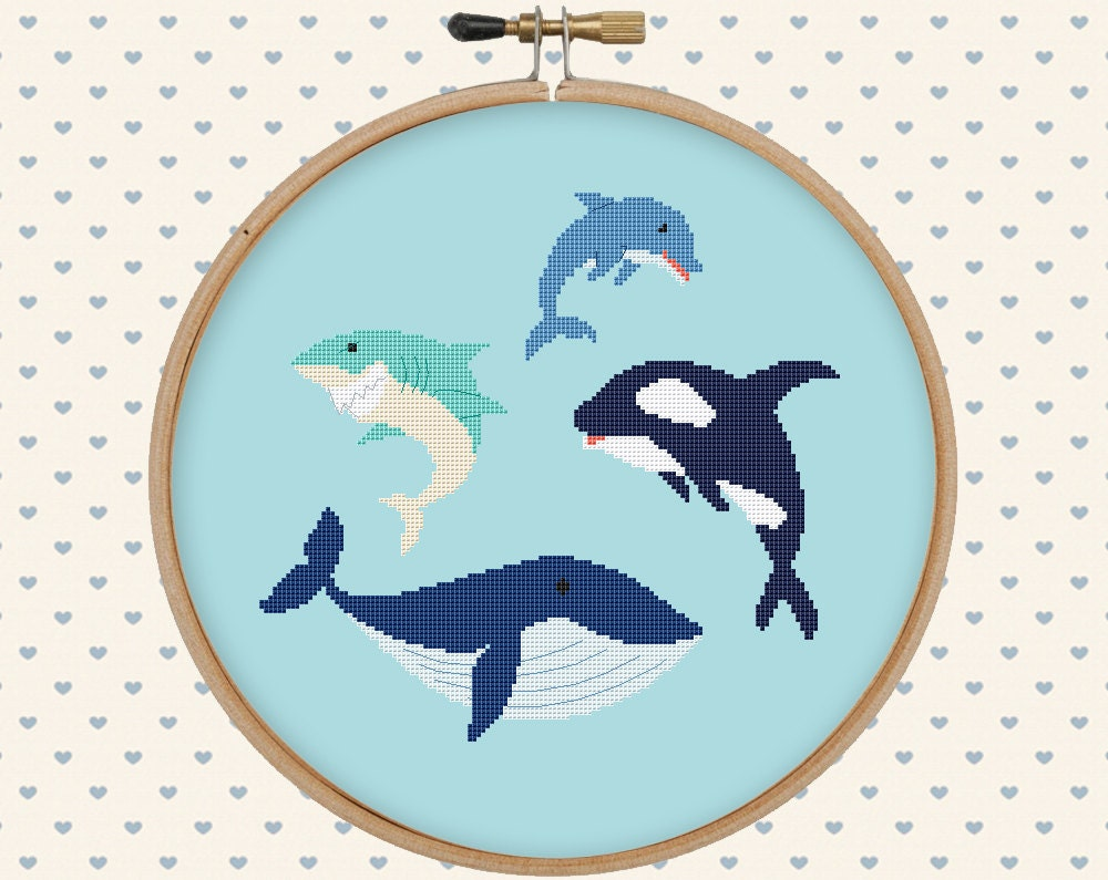 Sea Animal Cross Stitch Pattern Pdf Orca Whale Dolphin