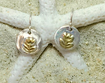 Sterling and Fine Silver 22K Gold Plated Tulip Coin Earrings