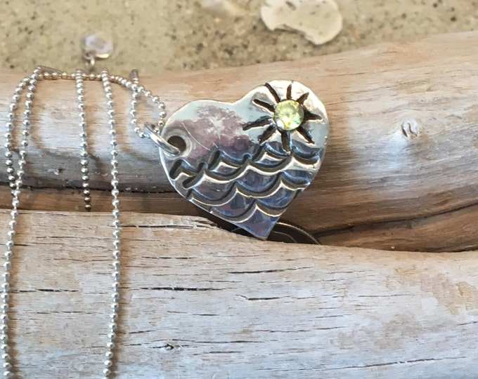 Customize Fine Silver (.99%) Heart Pendant With Antiqued Waves and 3mm CZ Sun