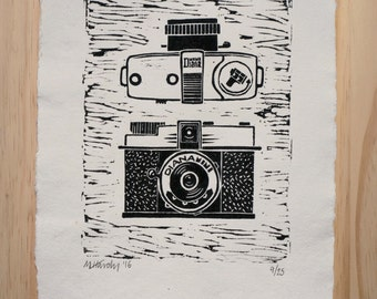 Diana Mini Camera Hand Made Lino Cut Print