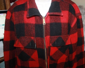 Vintage Clothes, Mens Big Mike Wool Jacket / Coat, Red and Black Plaid, Union Made. Med / Large. Home and Living, wool coat, Hunting Jacket.