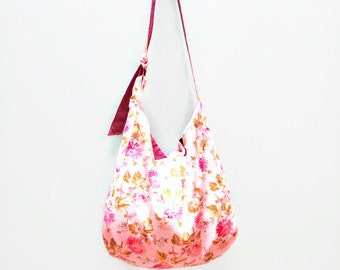 bag Tote - all in white velvet flowers