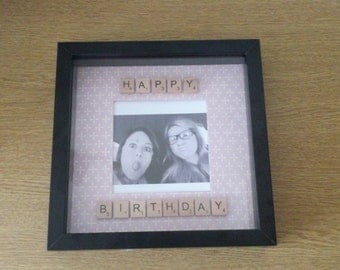 Happy Birthday Personalised scrabble tile photo frame