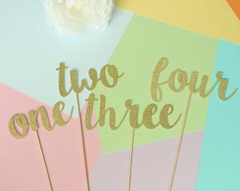 Gold Glitter Script Table Numbers | Wedding Numbers |  Floral Arrangements | Centrepieces | Cursive Gold Table Numbers | Gold Wedding Decor