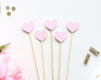 Heart Drink Stir Sticks | Baby Bridal Showers | Weddings | Birthday Party | Bachelorette | Engagement Party | Glittery Heart Swizzle Sticks