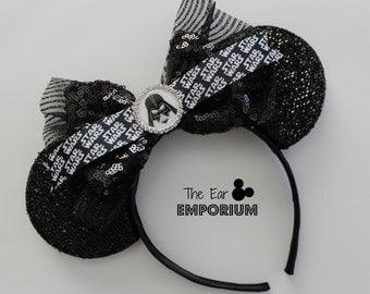 Star Wars Inspired Darth Vader Minnie/Mickey Mouse Ears Headband ~ Black and Silver Star Wars Ribbon with Rhinestone Image
