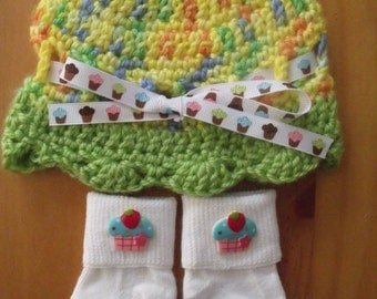 Crochet Baby Hat, Beanie, Sunhat w/Matching Socks Set - Yellow w/Cupcakes - Size 0-6 mts months - Great Baby Shower Gift! FREE SHIPPING
