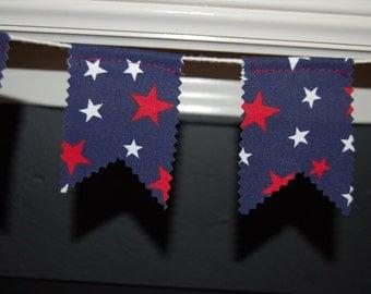 Red, White, and Blue Stars Fabric Garland