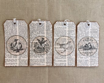 Gift tags, tags, vintage paper, Birds