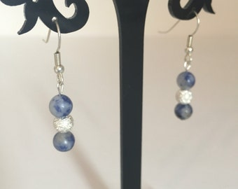 Sodalite and Stardust bead earrings