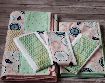 Baby Quilt, Baby Blanket, Pink, Green, Gold, and Floral Baby Quilt, Mini Baby Baby Blanket, 3 Matching Burp Cloths, Baby Shower Gift