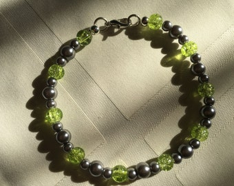 Lime Green and Silvery Beaded Bracelet