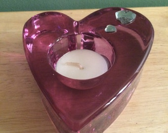 Partylite Discontinue Purple Passion/Amethyst Glass Heart Tea Light Candle Holder
