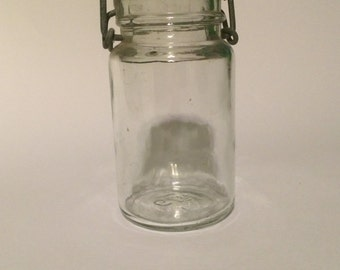 Vintage 1879 Pint Sized Canning Jar With Wire Bail & Glass Lid (Canning or Fruit Jar)