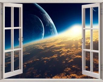 3D Window Sunrise Wall Sticker