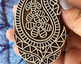 Paisley Wood block stamp for printing on multiple surfaces - paper printing, fabric printing