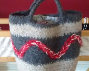 Felted wool bag. Crocheted, lined