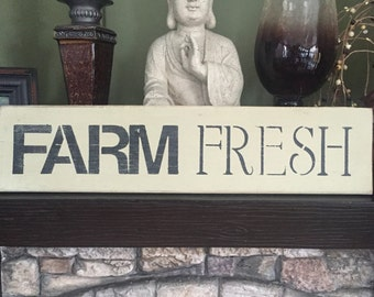 """Hand Painted """"Farm Fresh"""" Wooden Sign"""