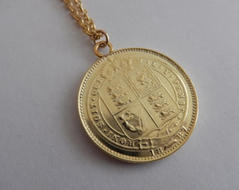 Victorian Shilling Necklace 18ct gold/Argentium silver