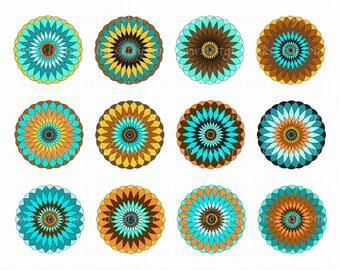 Mandalas Clip Art -  Mandalas Vector Clipart - Mandalas Clipart - Mandalas EPS - Mandalas PNG and EPS