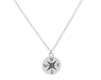 Compass necklace; Unisex necklace - Silver / / 40% off